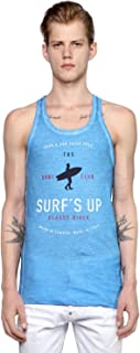 DSquared² Men's Blue Surf Printed Cotton Jersey Tank Top