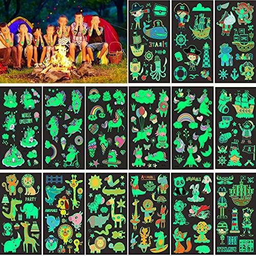 15 Blatt im Dunkeln leuchten Einhorn Tattoos Kinder,Leuchtende Tier Pirat Einhorn Tattoo Jungen Mädchen Party Dekor Geschenk