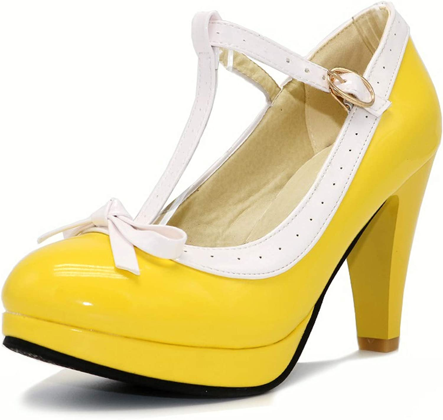 Plus Size 32-48 Women Summer High Heels shoes T Strap Bow Daily Work Dress Footwear,Yellow,12.5