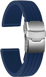 Ullchro Correa Reloj Calidad Alta Recambios Correa Relojes Caucho Stripe Pattern - 16mm, 18mm, 20mm, 22mm, 24mm Silicona C...