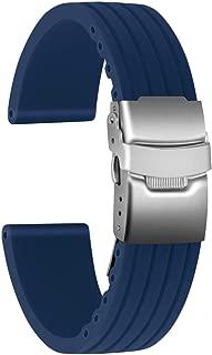 Silicone Watch Strap Replacement Rubber Watch Band Waterproof Stripe Pattern Watch Bracelet