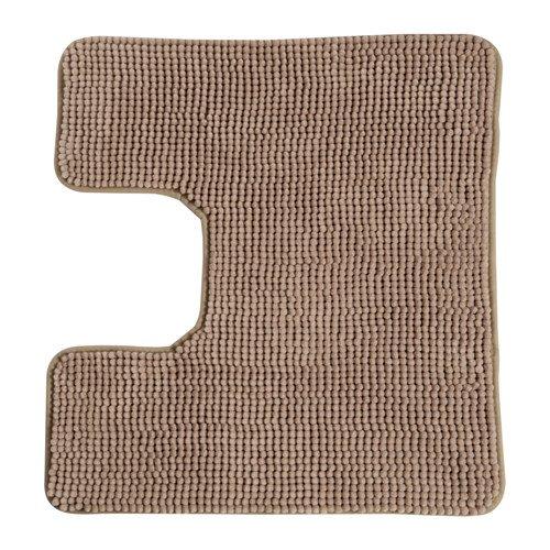 Ikea Toftbo Tapis de wc, tapis de toilette pelucheux absorbant en microfibre,55x 60cm,lavable en machine, disponible dans différentes couleurs, Microfibre, beige, 60 x 55 cm