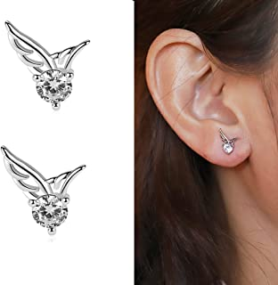 Korean Style Fashion Angel Wings Rhinestone Stud Earrings Jewelry Accessories for Women and Girls EH-66