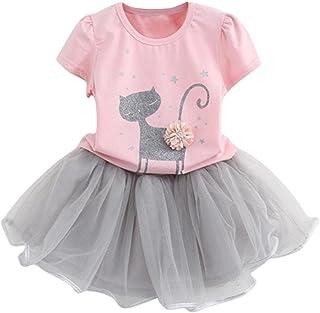 Baby Girls Summer Dress,Boomboom Summer Kid Girls Cartoon Little Kitten Printed Shirt and Skirt Set