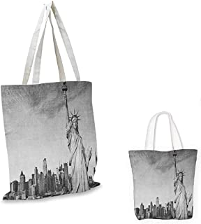 "Black and White shopping tote bag Statue of Liberty of New York City Famous American Monument travel shopping bag Pale Grey Black White. 14""x16""-11"""