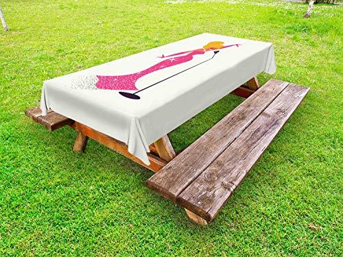 ABAKUHAUS Midden in de eeuw Tafelkleed voor Buitengebruik, Zanger met microfoon, Decoratief Wasbaar Tafelkleed voor Picknicktafel, 58 x 84 cm, Ivoor Roze en Oranje