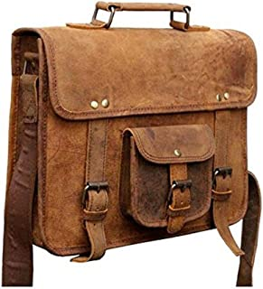 TUZECH Buffalo Hunter Leather Bag Messenger Satchel Bag- Fits Laptop Upto 13.3 Inches