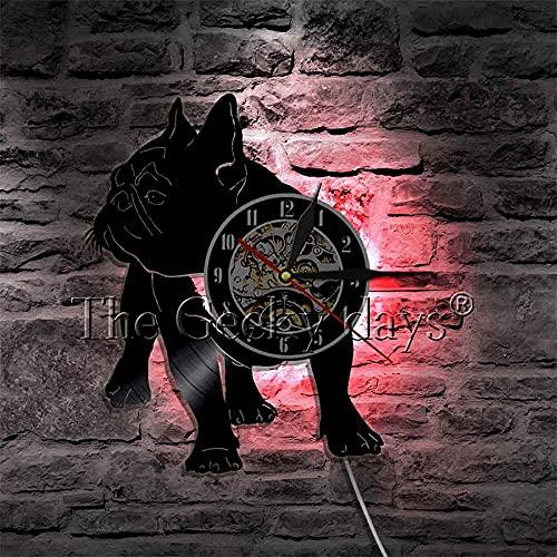 ZZLLL Orologio da Parete Decorativo Orologio da Parete Bulldog Francese Illuminazione Art Déco Orologio da Parete con Dischi in Vinile Pet Puppy Dog Lampadario per Animali Lampada da Parete a LED