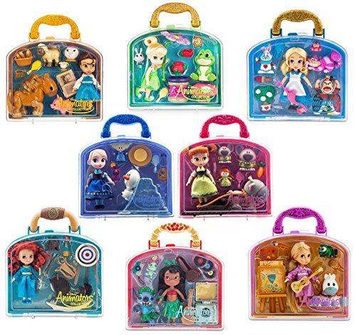 Animator's Collection Disney Anna-Elsa-Belle-Rapaunzel-Alice-Tinker Bell-Merida-Lilo Mini Doll Play Set