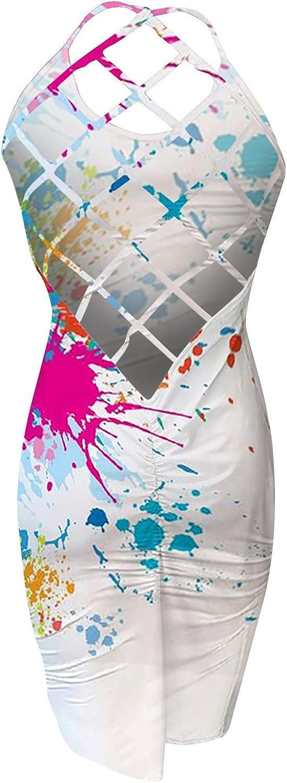 wodceeke Women Fishnet Print Dress, Round Neck Backless Sexy Dresses Sleeveless Casual Sundress Mid-Calf Club Skirt