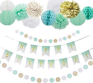Easy Joy 誕生日飾り付けセット ゴールド&ミント 1歳 2歳 ハーフパーティー パーティーデコレーション 受付飾り 写真背景