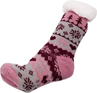 Women's Warm Colorful Snow Flake Knit Long Slipper Socks Lining inside and Silicon Gripper Christmas Gift