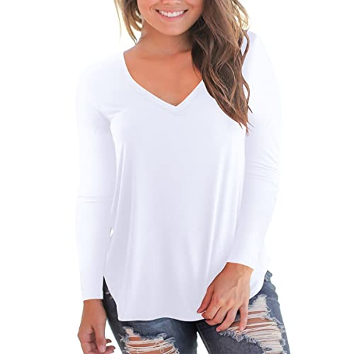 b0e04d259 NIASHOT Women s Short and Long Sleeve V-Neck Loose Casual Tee T-Shirt Tops