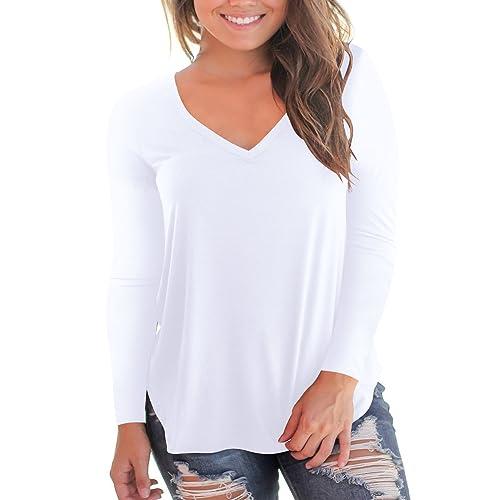 3686e4e5487 NIASHOT Women s Short and Long Sleeve V-Neck Loose Casual Tee T-Shirt Tops