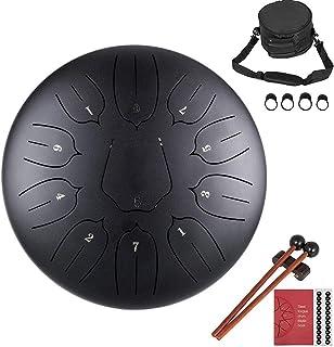 precauti 11 Notas Instrumento de percusión de Tambor de Acero de 10 Pulgadas Instrumento de percusión Lotus Hand Pan Drum with Bag