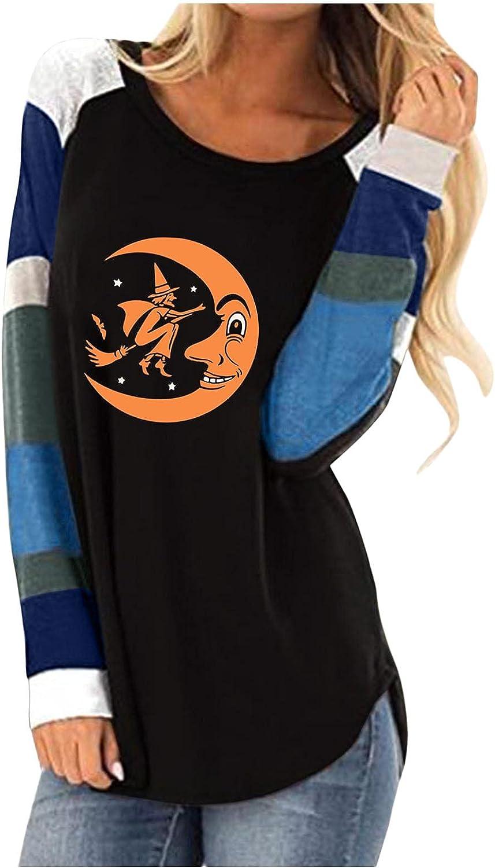 AODONG Halloween Costumes for Women Comfy Colorblock Vintage Halloween Print Crewneck Shirts Long Sleeve T-Shirts Tops