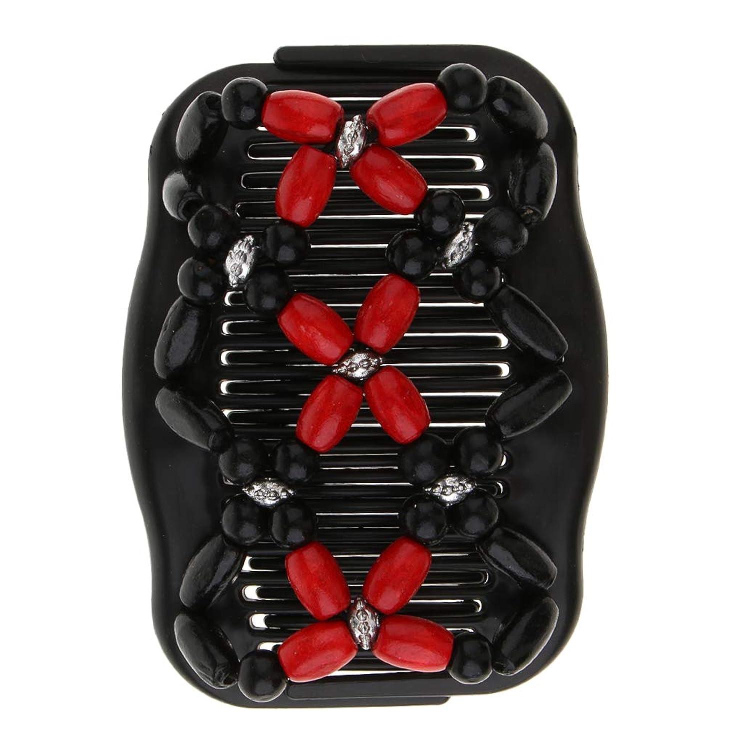 割り当てる昼寝使用法Perfeclan ダブル ヘアコーム ヘアクリップ 櫛 帯電防止 髪型ツール ヘアスタイル 全5色 - 赤