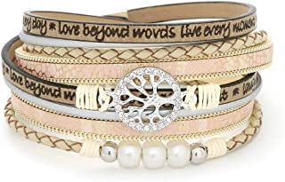 JAOYU سوار جلد للنساء أساور الكفة كريستال الإسورة اليدوية معصمه مضفر مجوهرات بوهيمية هدية للفتيات في سن المراهقة