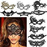 FLOFIA 10 pcs Máscaras Venecianas Mujer Encaje Negro Plata Dorado Antifaz Lace Mask Máscara Encaje Mujer 10 Estilos Suaves para Carnaval Halloween Mascarada Disfraces Fiesta Baile Soltera Bar Party