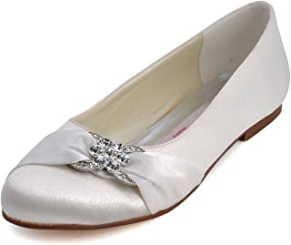 Women Closed Rhinestones Comfort Flats Pleated Satin Wedding Bridal Shoes