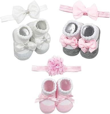 Baby Walker Socks Crown Headband Newborn girl boots White No Slip Cotton Socks with Heart  Headband Baby Shoes Baby girl Winter Shocks