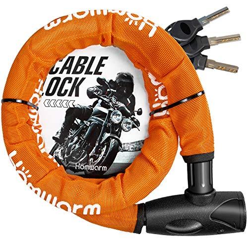 Homwarm バイクロック チェーンロック バイク 自転車 ワイヤーロック φ(直径)22mm×1200mm 頑丈 盗難防止 ...