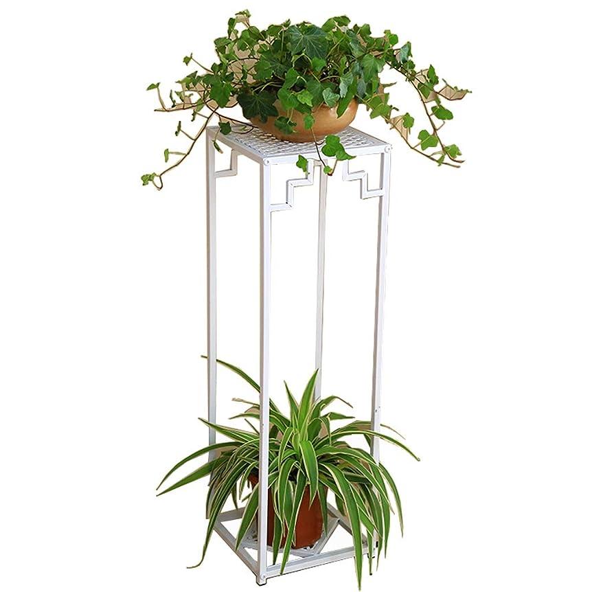 かごふりをするレイアメタルフラワースタンド植物スタンド収納ラック棚植物フラワーポットラックディスプレイスタンド2個植木鉢、ホワイト
