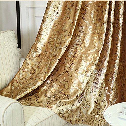 1 Panel European Style Velvet Gold Curtains Room Darkening Luxury Curtains for Villa (1 x 54x84 Inch)