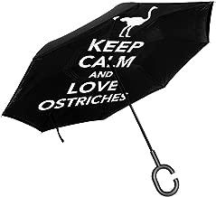 Keep Calm And Love Ostriches Car Reverse Inverted Umbrella Open Folding UV Protection Unique Windproof Umbrella For Car Rain Outdoor
