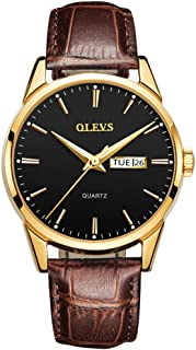 OLEVS Men's Wrist Watches for Men Blue dial Brown Leather Thin Big Face Analog Quartz Calendar Day Date Waterproof Luminous, Male Luxury Casual
