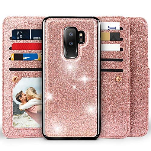 Miss Arts Compatible with Galaxy S9 Plus Wallet Case, Detachable Magnetic Slim Case with Car Mount Holder, 9 Card/Cash Slots, Magnet Clip, Wrist Strap, PU Cover for Samsung Galaxy S9 Plus -Rose Gold