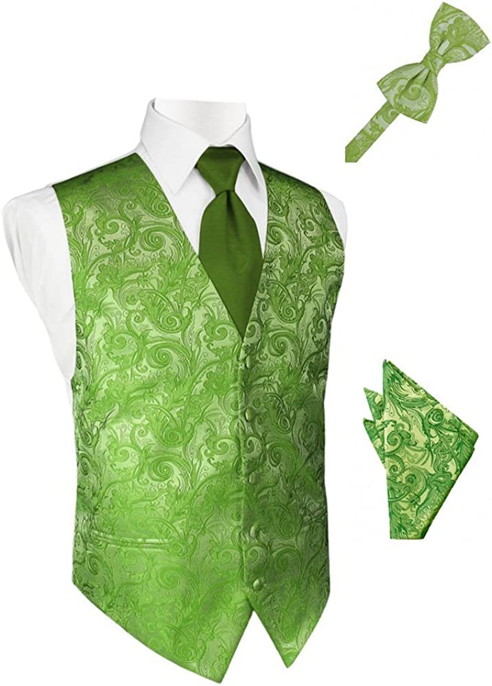 Clover Tapestry Satin Tuxedo Vest with Long Tie Bowtie and Pocket Square Set