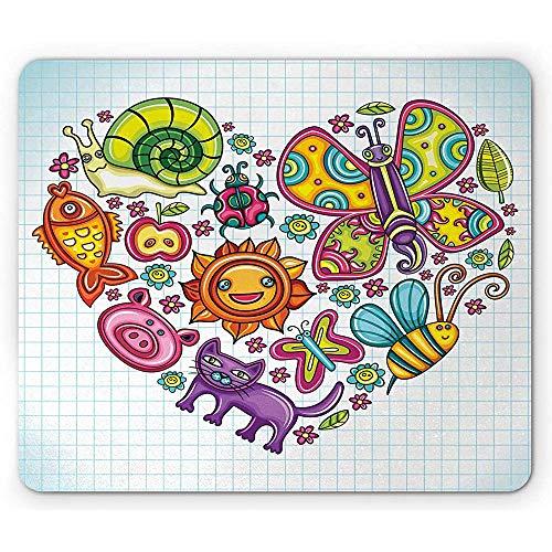 Doodle Mouse Pad,Flora Und Fauna Themen Herz Tiere Vögel Und Pflanzen Hummel Marienkäfer Blätter Katze,Rechteck Rutschfeste Gummi Mousepad,Standardgröße,Mehrfarbig