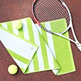 Luzia Striped Workout Towel (Pack of 2) - Premium Quality 100% Turkish Cotton - Lightweight and Super Absorbent for Sports, Workout, Fitness, Gym, Yoga, Running and Travel (Green)