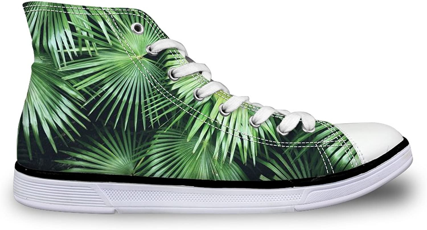 DUOLIFU Unisex Sneakers 3D Tropical Leaves Print Casual High Top Lace Up Canvas Sneakers shoes