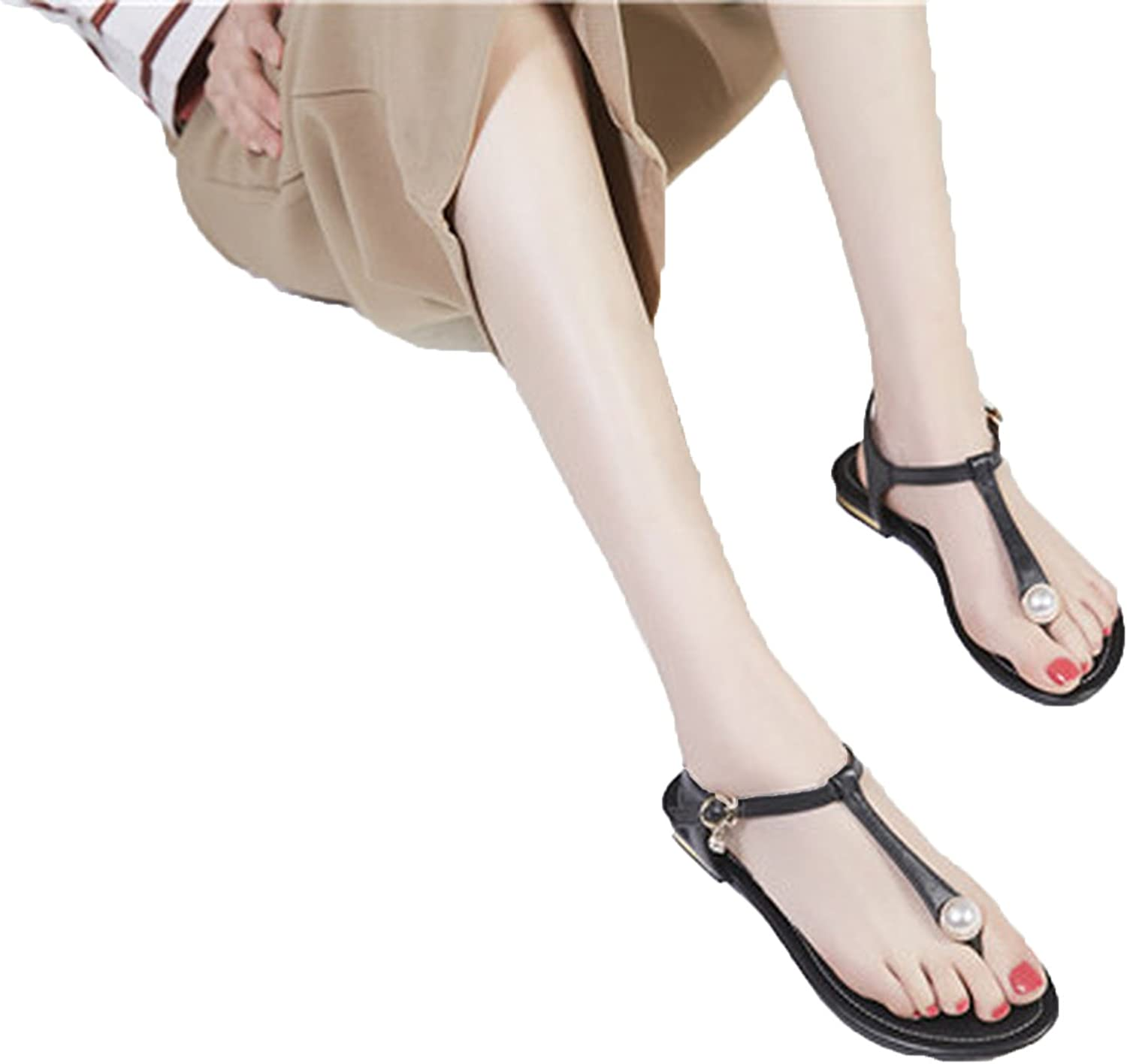 Running-sun Women Summer Sandals T-Strap Buckle Strap Flip Flops Flats shoes with Pearl Ladies shoes Plus Size