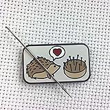 Hedgehog Pincushion Love Enamel Needle Minder