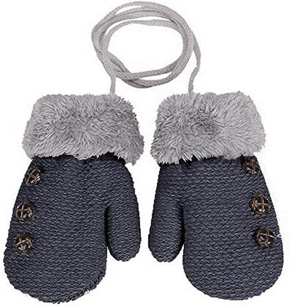 WBDL Baby Gloves Children's Mittens Winter Gloves Children Warm Rope Mittens for Children 1-3 Years Old Baby Gloves