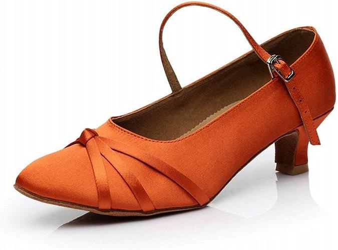BYLE Sangle de Cheville Sandales en Cuir Chaussures de Danse Modern'Jazz Samba Président Lumière Douce Adultes à Haut Talon en Cuir Chaussures de Danse Latine Danse Sociale 7cm Orange