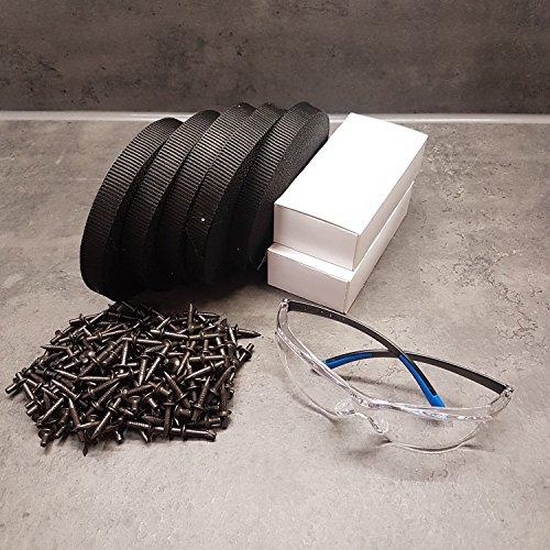 powerpreis24 Fixpin TEX400 Set 400 Fixpin 4x18 mit 75m Gewebe-Montageband und Schutzbrille