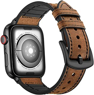 Mifa Compatible with Apple Watch Band 44mm 42mm Series 5 4 3 Hybrid Sports Leather Vintage Dressy Bands Dark Brown Replacement Straps Sweatproof iwatch Nike Space Black Grey Men (44/42mm - Brown)