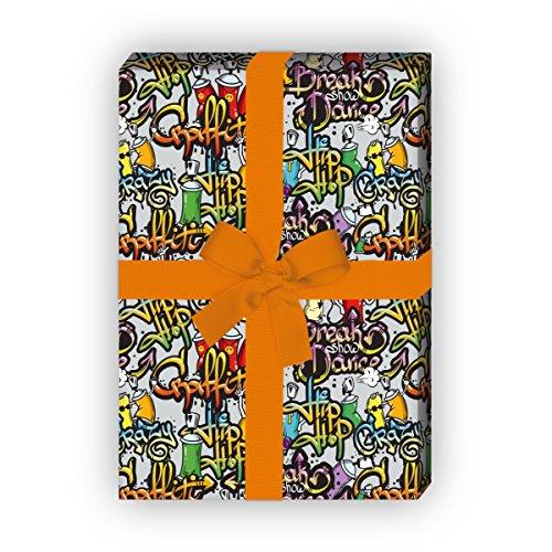 Kartenkaufrausch Teenager Geschenkpapier Set 4 Bogen, Dekorpapier mit Hipp Hopp Graffiti für tolle Geschenkverpackung, Musterpapier zum basteln 32 x 48cm