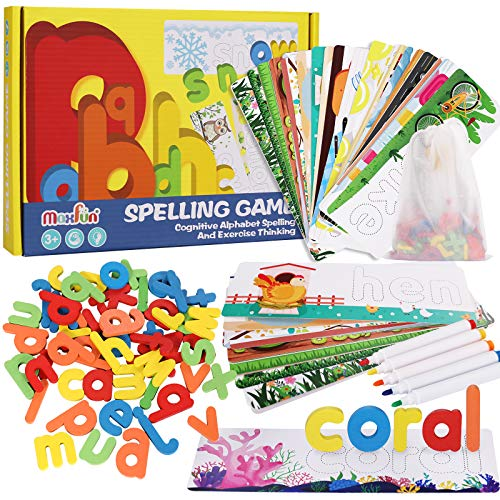 Max Fun Matching Letter Spelling Learning Games Toys for Kids Ages Girls Boys Wooden Kindergarten Preschool Educational Montessori 5 Year Old Toys Play Learn 36 Alphabet Cards 52 Letters