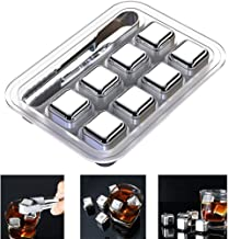 HASTHIP® Stainless Steel Ice Cubes Reusable, 8 Piece Whiskey Ice Cubes Set with Silicone Head Tongs and Ice Cube Trays (Pack of 8)