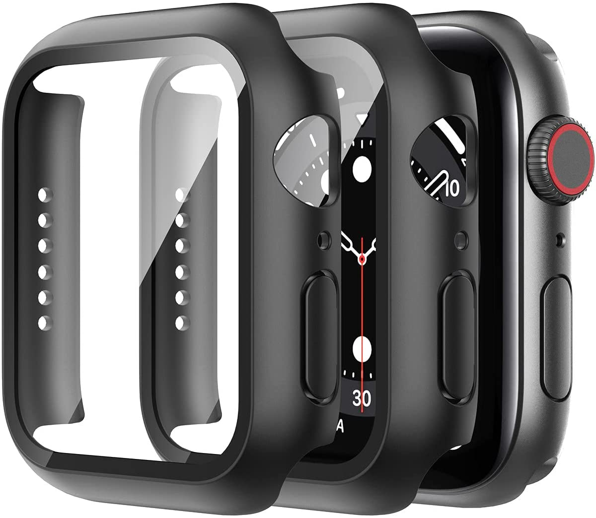 Suoman 2 Pack Compatible for Apple Watch SE Series 6 5 4 40mm Case, 9H Tempered Glass Screen Protector + Bumper Full Protective Hard Cover Case for iWatch 40mm - Black