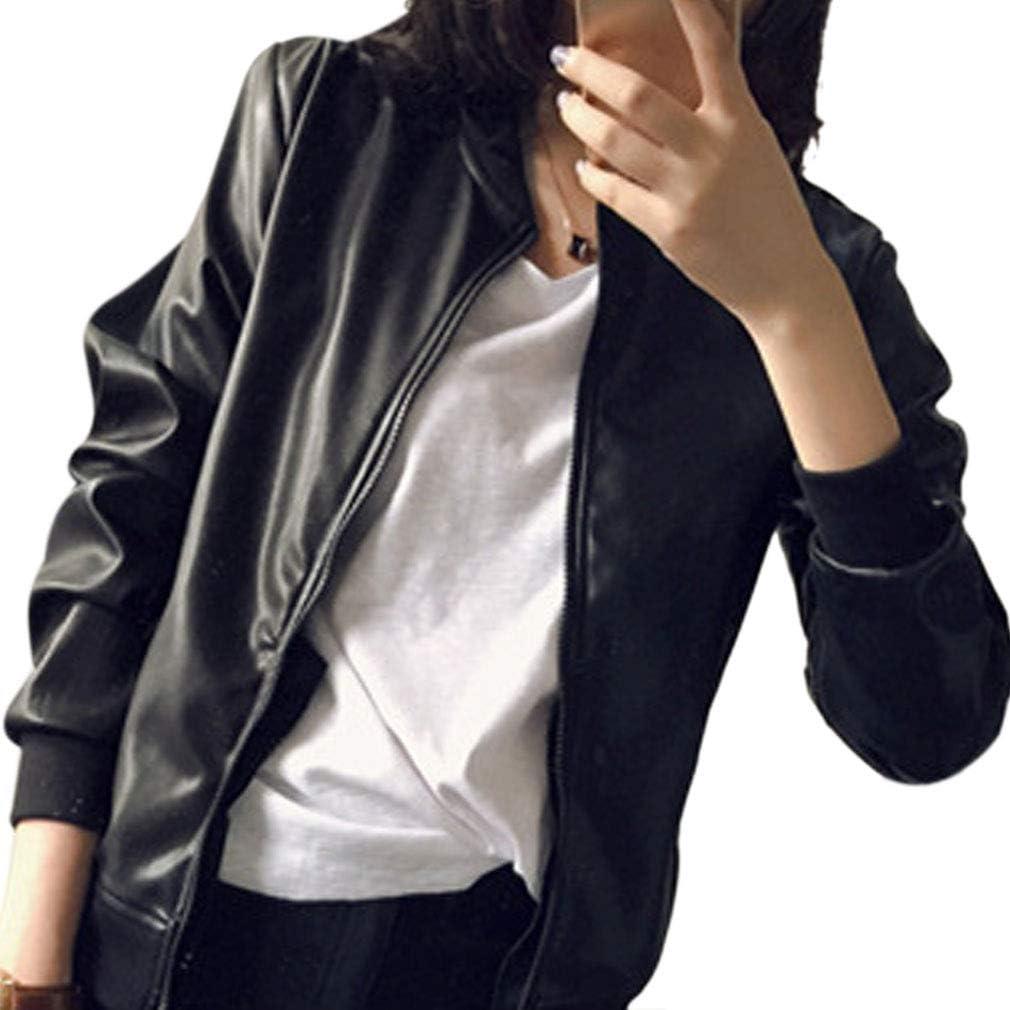 HongHu Women's Fit Faux PU Leather Biker Zip Moto Bomber Jacket