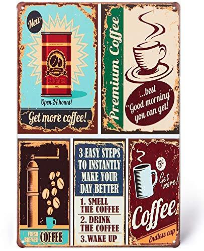 UNIQUELOVER Coffee Signs, Premium Coffee Time Vintage Retro Metal Tin Signs Kitchen Home Bar Decor 8 X 12 Inches, Small