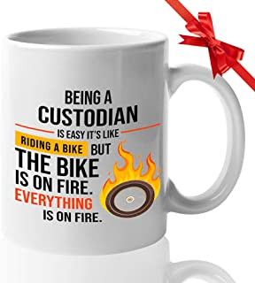 Custodian Coffee Mug 15 Oz - Being A Custodian Is Easy It's Like Riding A Bike - Gift For Student Graduation College Anniv Mother's Day Job