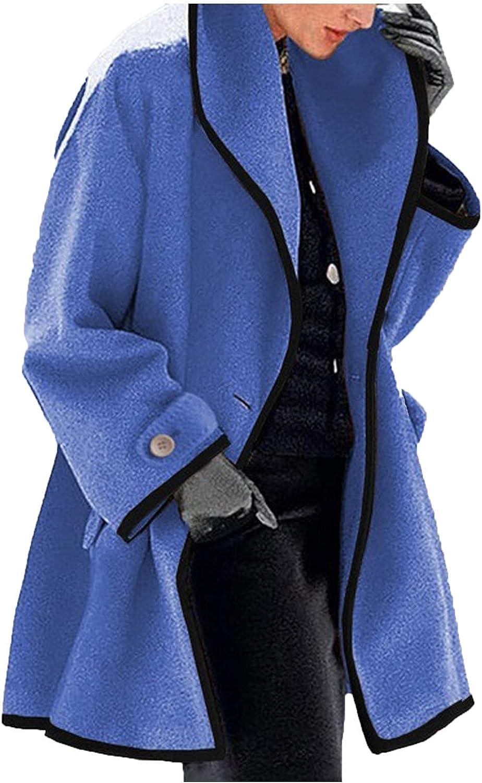 Ellymi Women's Basic Designed Notch Lapel Double Breasted Mid-Long Wool Pea Coat Parka Coat Jacket Overcoat