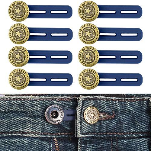 Juego de 8, Extensor de Cintura para Pantalones, Botón de Extensión en Silicona de Pantalones hasta 5 cm, Botones retráctiles de Jeans y Pantalones, Adaptator de Cintura Ajustable, Pantalones premamá